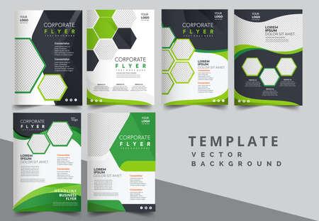 Vector eco flyer, poster, brochure, magazine cover template. Modern green leaf, environment design