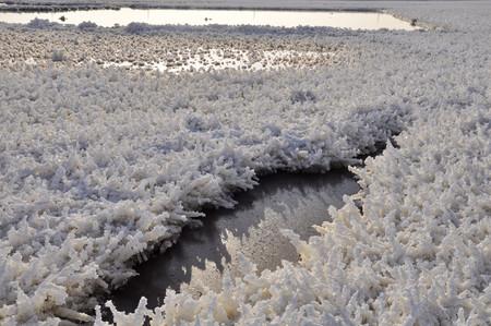 sulfate: Glaubers salt crystal, salt pond a beautiful scenery