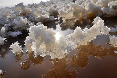 sulfate: Glaubers salt crystal, salt pond a beautiful scenery