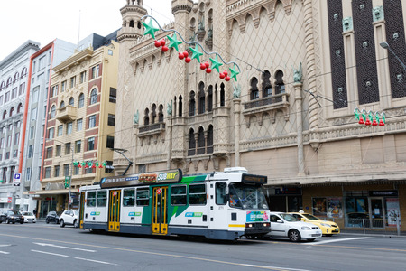 Tram passed under Christmas Decors at Melbourne CBD Editöryel
