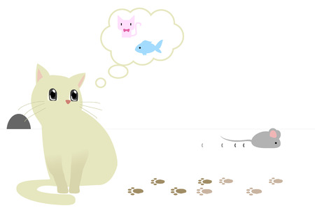 sneaks:  Illustration of a cat thinking something and doesnt notice that a mouse sneaks away. Illustration