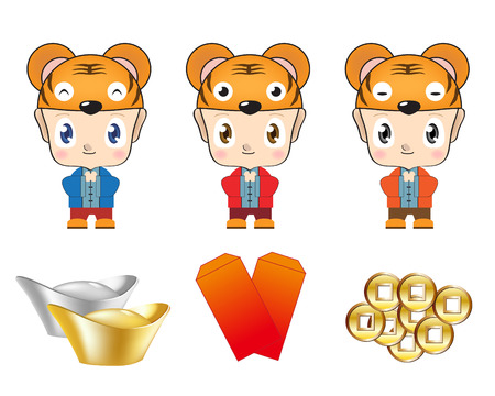packets: Illustration of children wear different tiger hats with various kinds of treasure.