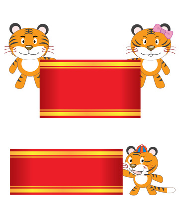 Illustration of a tiger family holds red banners to celebrate. Vector