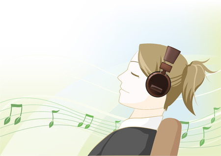 Illustration of a girl listening to music with an earphone. 向量圖像