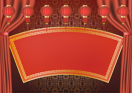 Traditional Chinese style background design. 일러스트