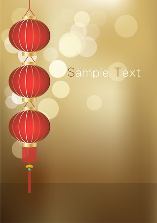 yellow tassel: A string of lanterns with a beautiful golden bokeh background. Illustration