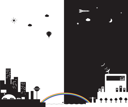 Vector illustration of a day city and a night city. Vector