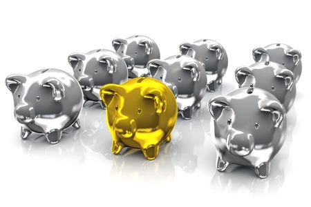 distinguish: Illustration of a gold piggy bank in the front of many silver piggy bank.