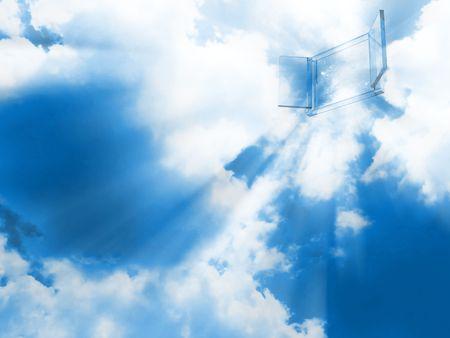 Illustration von einem Kristall-Tor in den Himmel.