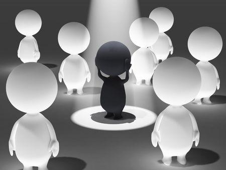 the villain: 3D illustration of spot a villain. Stock Photo