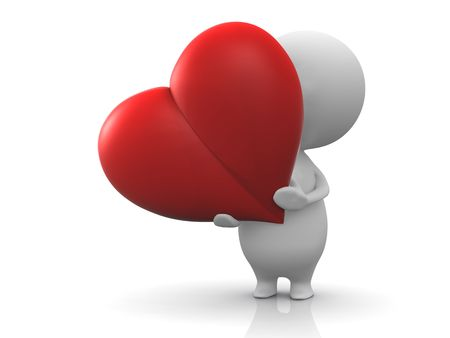 donating: Illustration of a person holds a red heart.