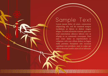 Chinese card design with bamboo on red background. Vector