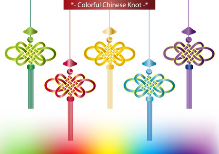 auspicious: Set of colorful Chinese knots.