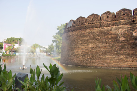 chiangmai: rainbow in Chiangmai moat and ancient wall Stock Photo