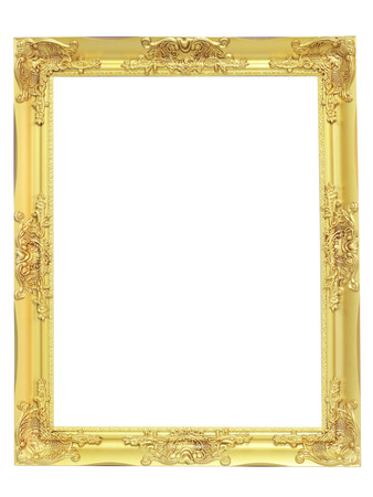 gold picture frame: golden vintage frame isolated on white background