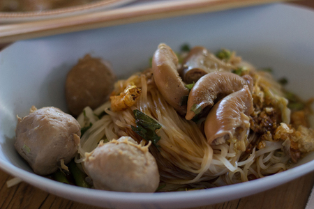 large intestine: pork large intestine vermicelli soup, Thailand noodle cuisine