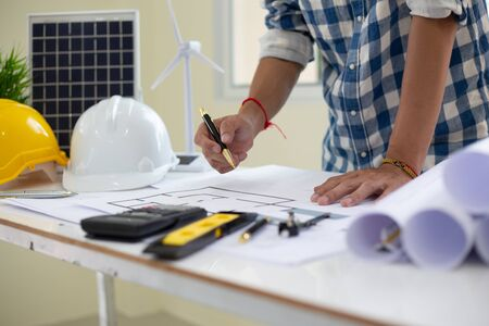 Architect drawings blueprint  at Construction Site.concept Stockfoto