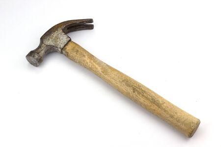 Holzhammer auf weißem Hintergrund Standard-Bild