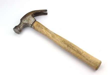 Wooden hammer on a white background Stock Photo