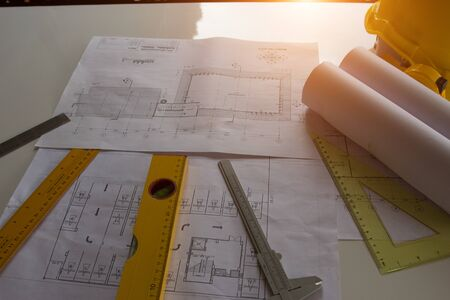 Architectural Office desk background construction project ideas concept, With drawing equipment Zdjęcie Seryjne