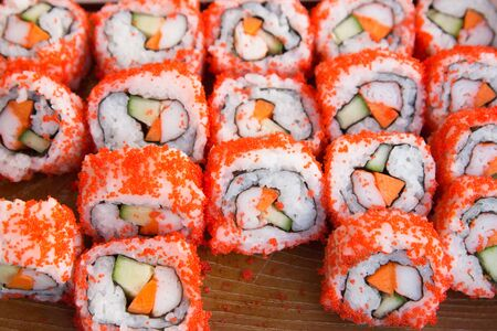 Japanese cuisine. Sushi background Foto de archivo