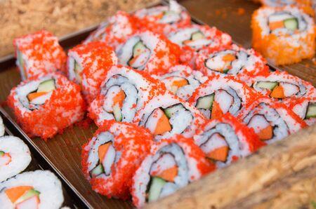 Japanese cuisine. Sushi background Foto de archivo