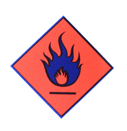 Warning symbol flame Stock Photo