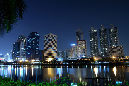 mirror on the water: mirror water with night city Bangkok Thailand