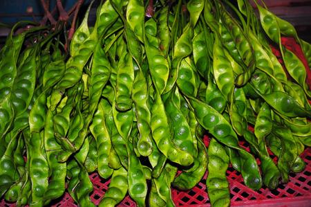 stinking: Tropical stinking edible beans, (Parkia Speciosa) in Market thailand