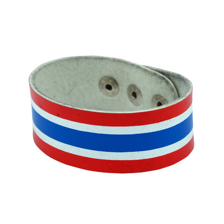 wristband: Wristband with Thailand flag pattern isolated on white background