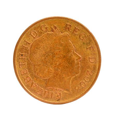 queen elizabeth ii: British Queen Elizabeth II 2008, two Penny Coin