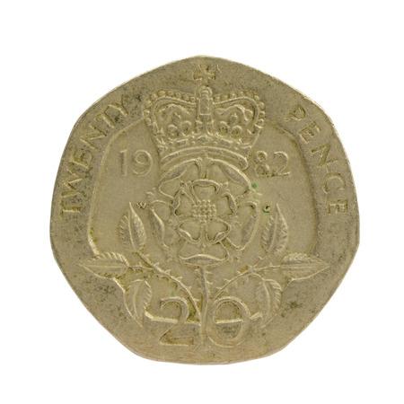 queen elizabeth ii: British Queen Elizabeth II 1982, 20 Penny Coin