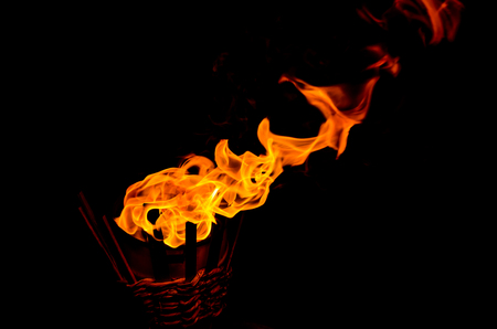 oil lamp: flame on lamp light oil Stock Photo