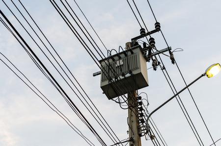 power transformer: power transformer on sky background Stock Photo