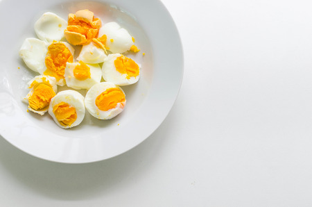 boiled eggs: Boiled Eggs on white dish ,space