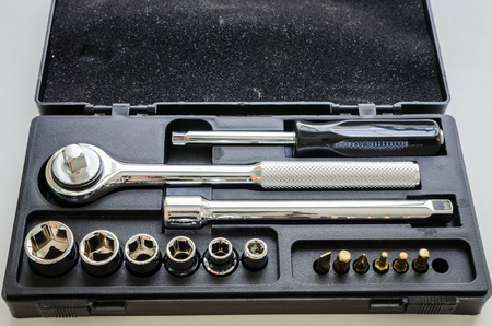 sockets: Set of Socket wrench and stainless steel hex sockets Stock Photo
