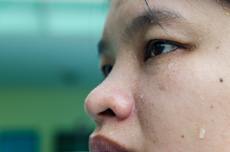 close up sweat on face Asia womans. excercise and  relax