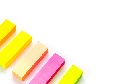 yellow notepad: sticky notes on white background
