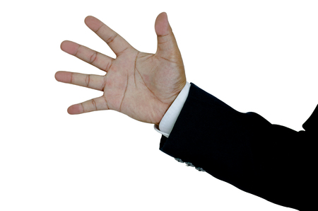 Rock, Paper, Scissors, Close up hands business man with paper Stock Photo