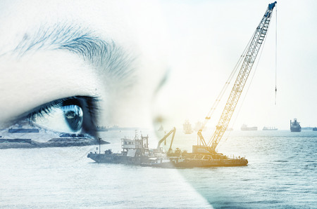 Double exposure picture, close-up eye  women on Trade Port  background