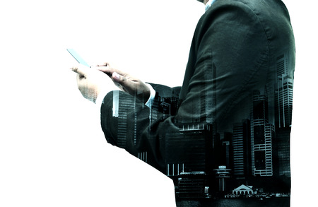 Double exposure of businessman use smartphone isolated on white background