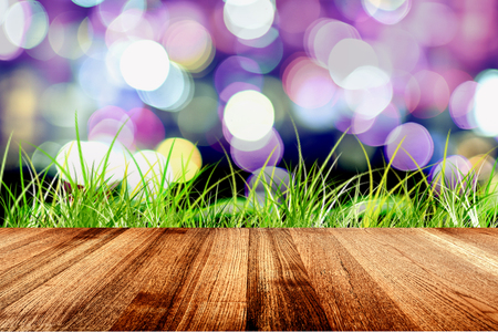 Wood planks and green grass on abstract background, Brown natural wood texture. Empty wood for display or montage your products