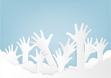 Colorful up hands. Raised hands volunteering vector concept. paper art and craft style.