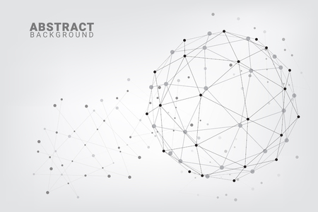 Fondo abstracto de la tecnología. Fondo geométrico del vector. Conexiones de red global con puntos y líneas. Conexión de red de concentrador mínima línea de fondo