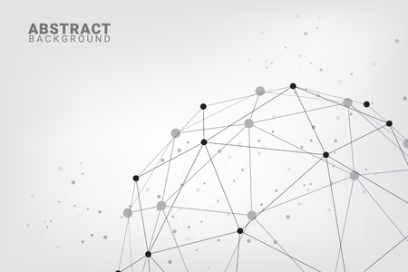 Abstract technology background.Geometric vector background. Global network connections with points and lines. Hub network connection minimal line  background