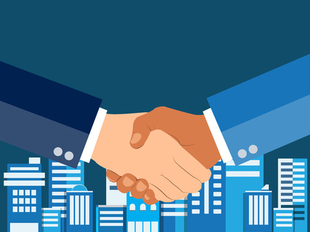 Shaking hands flat design concept. Handshake, business agreement. partnership concepts. Two hands of businessman shaking. Vector illustration on blue urban city background. Stock Illustratie