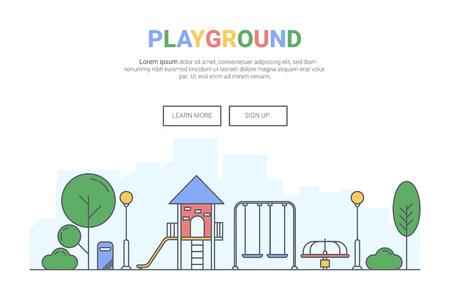 Landscape playground on public park concept.  design for theme landing page website. Thine Line art.