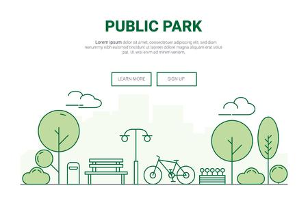 Landscape urban garden park concept.  design for environment green on city theme landing page website.