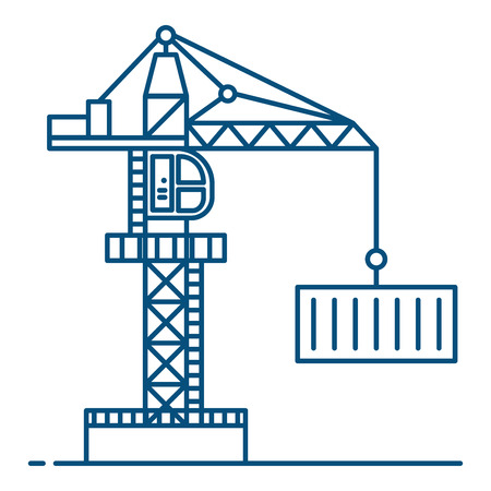Line art style. Crane ilustration vector background. freight transport and logistics concept.