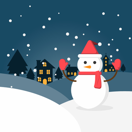 Winter snow and snowman in urban countryside with city village. Happy new year and merry christmas. Vector Illustration